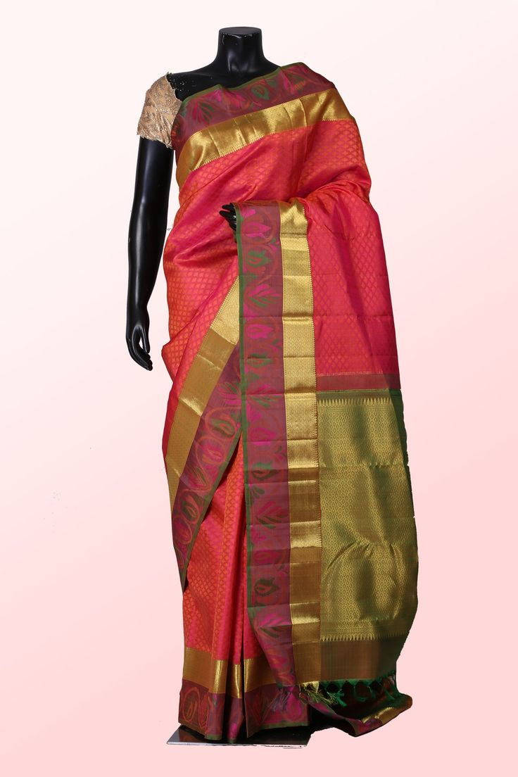 Rani pink zari weaved pure silk lovely saree with multicolour border-SR10103  #Pink #zari #silk #saree #pure #lovely #border #limited #edition #Samyakk #ethnic #fashion #designer #collection2015 #new #sale #NewArrival #classy #buy #online #shopping #glam #beautiful #southindia