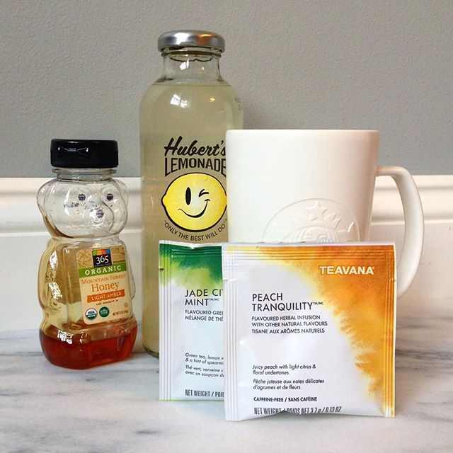 Medicine ball: Half hot lemonade, half hot water, peach tranquility tea, jade citrus mint tea, 2 tbsp honey. Miracle cold cure every time. You're welcome. (Or sub Tazo Refresh and Calm teas).