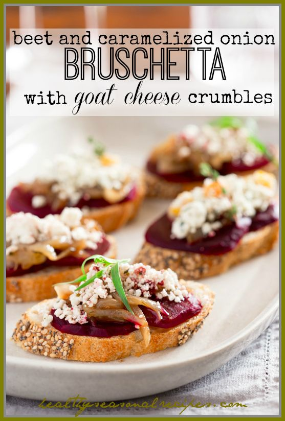 Crumbled Goat Cheese with Apricots and Thyme and with Cranberry and Tarragon on Caramelized onion and beet bruschetta   Appetizer via Health...