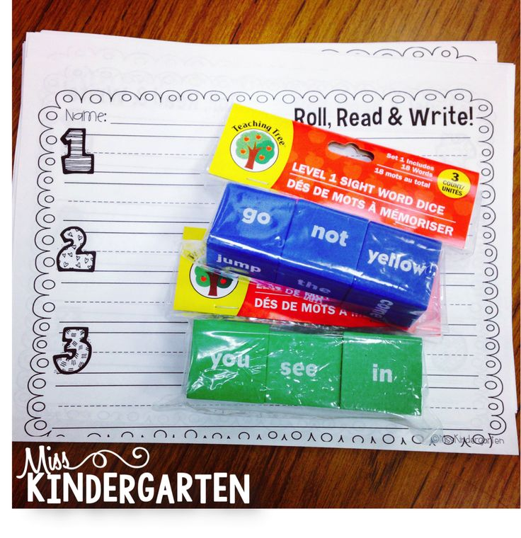 Miss Kindergarten: Sight Word Dice {roll the dice, read the word, write a sentence!}