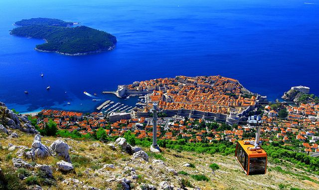 The cable car in Dubrovnik, Croatia.