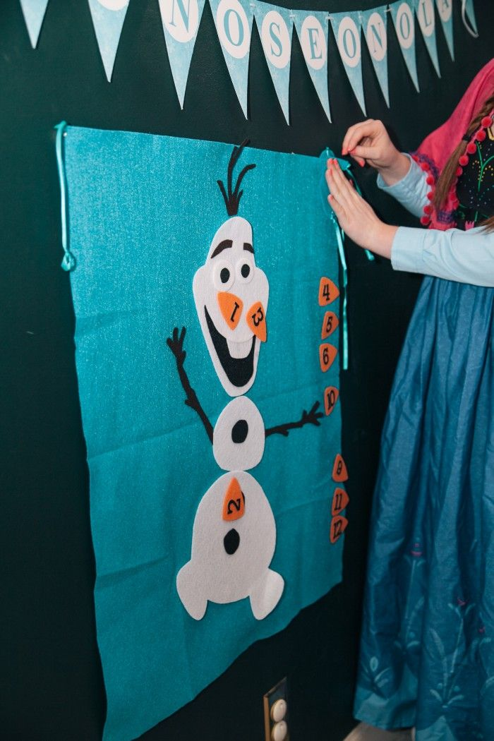Pin the Nose on Olaf Game! FROZEN Birthday Party! —