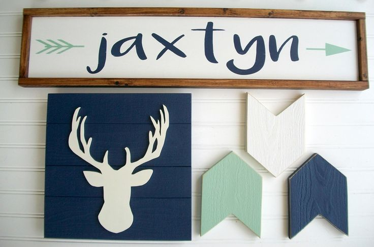 Hand painted custom baby name sign, arrows and deer head sign