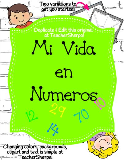 NOW IN SPANISH!!Editable, My Life by the Numbers, is a great first day activity to get your students sharing a little about themselves. Two variations of number webs are included to get you started - one with prompts, the other one blank. Print and use as is, or duplicate my original then edit the text, clipart and backgrounds and create additional pages!