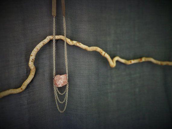 Long raw pink quatrz necklace Gemstones by EvisHandmadeJewels