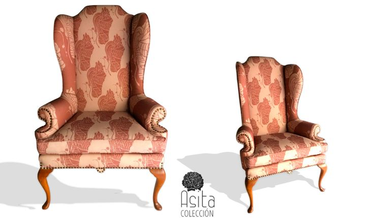 Isn't she lovely, wingback chair with Queen Anne legs in my PATIUM pattern, 1st half of the 20th century/hermosa poltrona ' wingback ' con patas Queen Anne en mi patrón PATIUM. Primera mitad del siglo 20.#lottihaeger #architecture #casa #color #colour #couleurs #design #diseño #decoración #decoration #elbuenojo #färg #fabrics #furniture #hem #home #inredning #interiordesign #möbler#patrones#pattern#telas #tyger #tissus #textiles