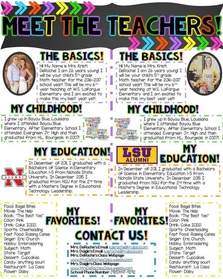 Meet the TEACHERS Newsletter- EDITABLE