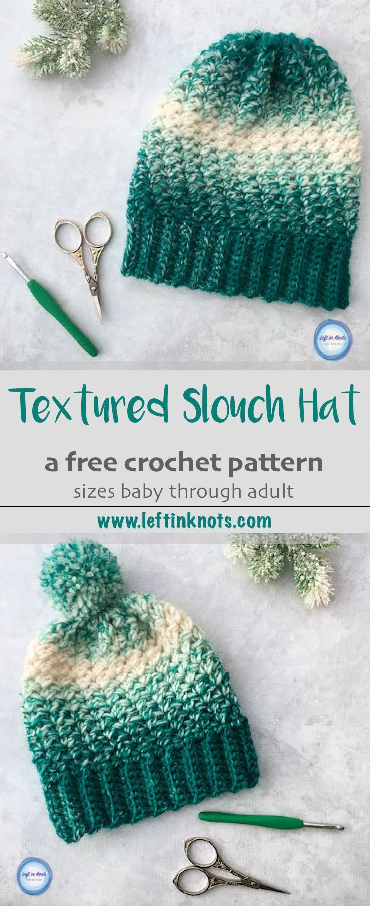 This free crochet pattern combines simple texture with the stunning Lion Brand Scarfie yarn to create a modern, beginner-friendly hat! The Snowball Slouch Hat takes just half a skein of Lion Brand Scarfie yarn and it can be made in four different sizes (baby, toddler, child and adult). This is the LAST free crochet pattern of my Seven Days of Scarfie 2017 pattern collection. #crochet #freecrochetpattern