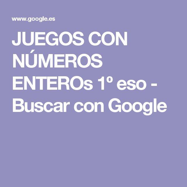 JUEGOS CON NÚMEROS ENTEROs 1º eso - Buscar con Google