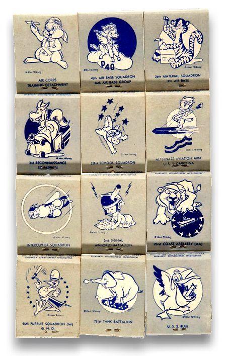 Disney-designed WWII insignia matchbooks