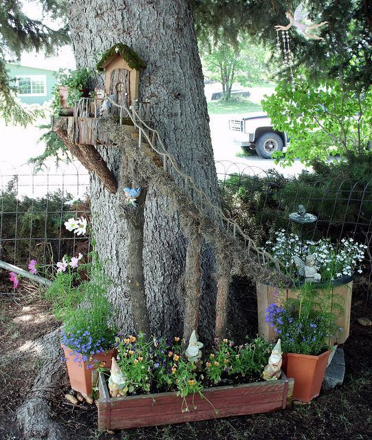 Miniature Fairy Garden Ideas create a fun fairy garden with jeans clever new ideas Use An Tree Trunk To Create A Wonderful Fairy Garden Scene Like This One With Flowers