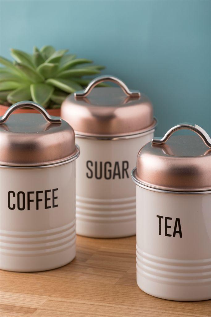 Metal Tea Coffee Sugar Kitchen Storage Canister Jar Pot Set Home Organizer