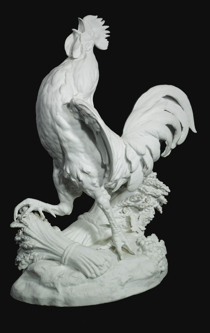 Paul oléra 1818 1897 A PARIS BISCUIT PORCELAIN MODEL OF A ROOSTER France circa