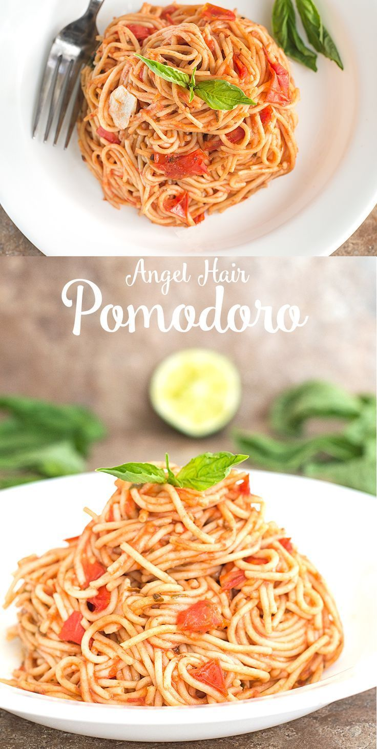 Angel Hair Pomodoro Made with fresh campari tomatoes. It is a very quick and easy dinner perfect for Meatless Monday or for any weeknight you need a quick and delicious dinner. Made in 30 minutes or less #SundaySupper