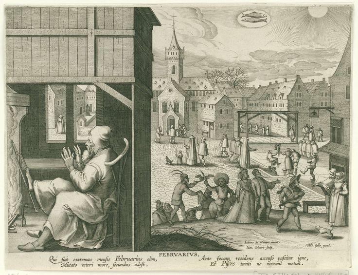 Jan Collaert (II)   Februari, Jan Collaert (II), Cornelis Kiliaan, Philips Galle, 1586 - 1618   Op de voorgrond links zit een man van middelbare leeftijd zich te warmen aan een vuur. Op de achtergrond een stadsplein met schaatsende mensen. Enkele mensen met kaarsen gaan in processie naar Maria lichtmis. Middenboven in de wolken het astrologisch teken van Vissen. De prent heeft een Latijns onderschrift en is deel van een twaalfdelige serie over de maanden van het jaar.