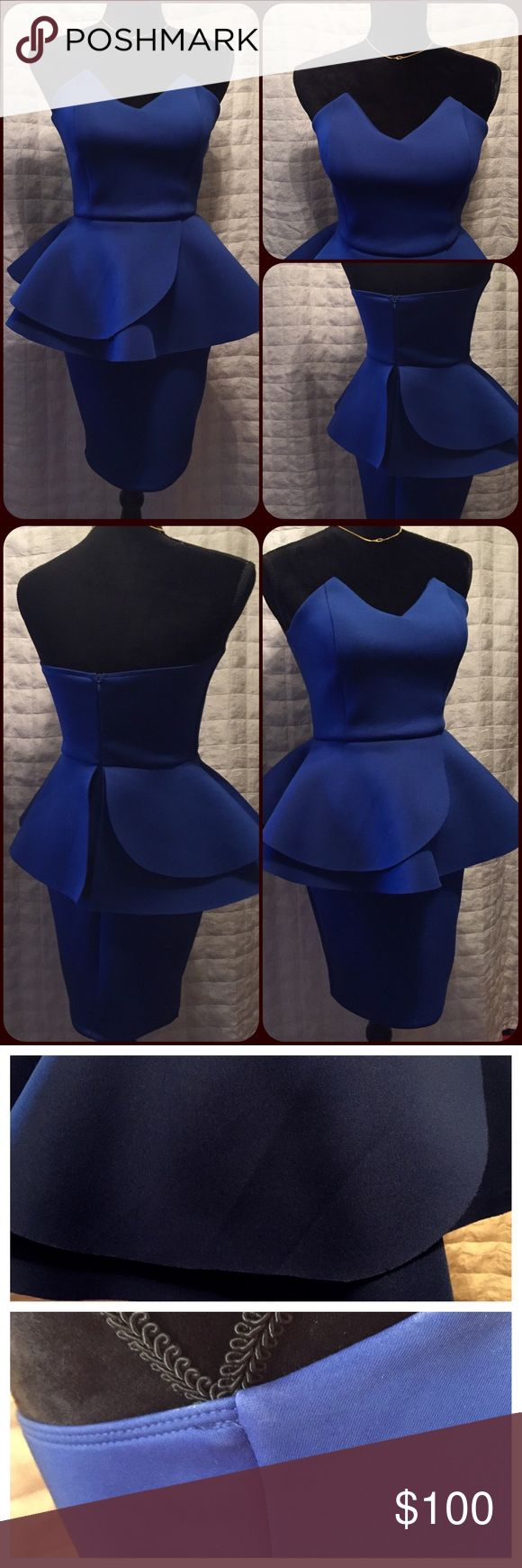"""Contor runway dress small Gorgeous royal blue formfitting dress made out of a scuba material, just like the trendy swimsuit,  holds it shape very well. Pendulum type top is full m, V neckline comes to a point on each side. Back zipper, no size tag, small discoloration under one arm, not noticeable when worn. Small crinkle in one of the pieces of the pendulum place like a picture. What to make a statement? This is the dress!! Made by Love Countor.  Chest; 31"""" Waist; 27"""" Length; 28.5"""" from…"""