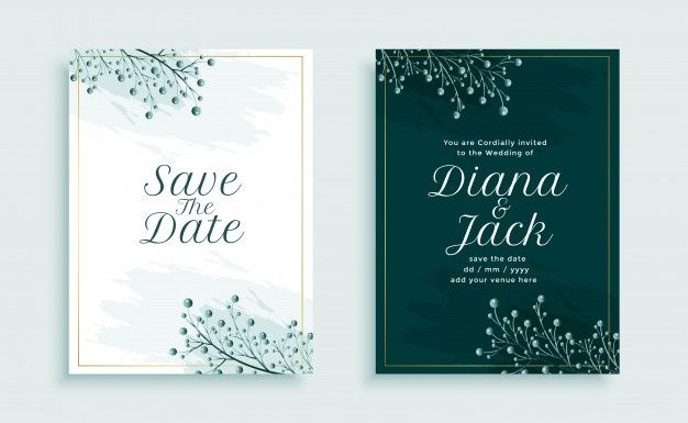 Download Nature Style Wedding Invitation Template Design With Leaves Decoration For Free Wedding Invitation Vector Wedding Invitations Floral Wedding Invitation Card