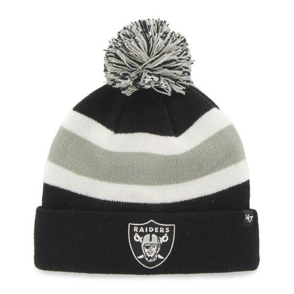 Oakland Raiders 47 Brand Tri-Tone Breakaway Cuffed Poofball Beanie Hat Cap