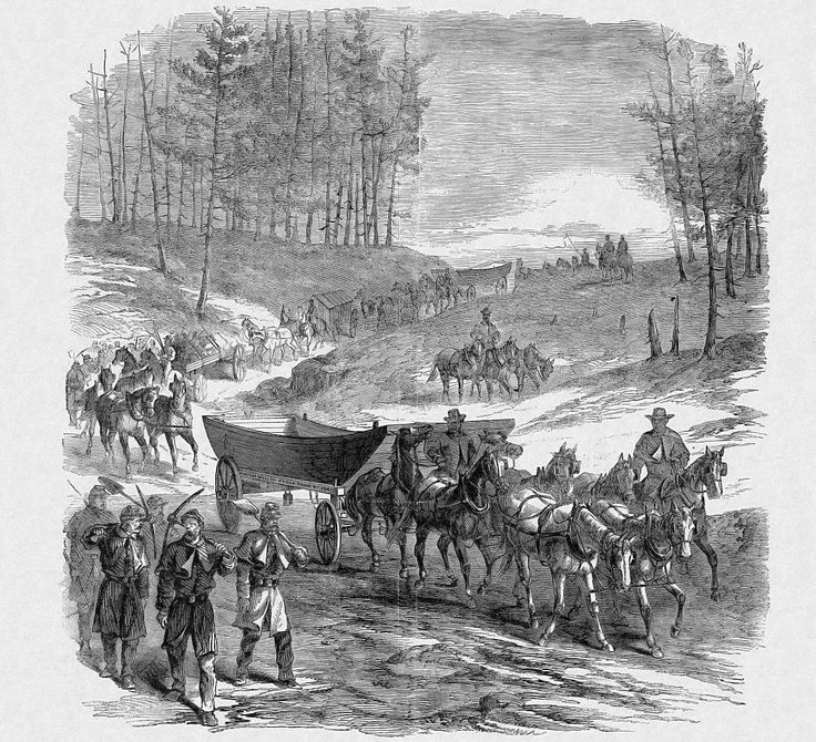 "The ""Pontoon Bridge on the March."" Pontoon Wagons on their way from Aquia Creek to the Rappahannock – Sketched by Henri Lovie.  Published January 3, 1863 in Frank Leslie's Illustrated Newspaper."
