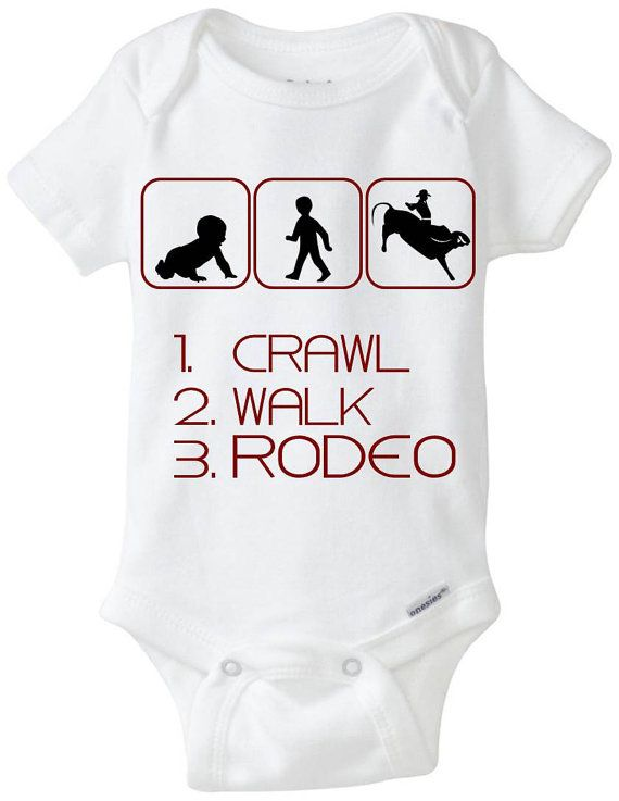 """New Baby Gift Onesie: Great for any new parent who is a Cowboy / Cowgirl or just likes the rodeo! - """"1. Crawl 2. Walk 3. Rodeo"""" Shown in Brown, but available in any color! Can be made for boys or girls (ponytail added for girls) - Customize by adding baby's name for $2!  Now available in Preemie Sizes!  Available Here: www.etsy.com/shop/LittleFroggySurfShop"""
