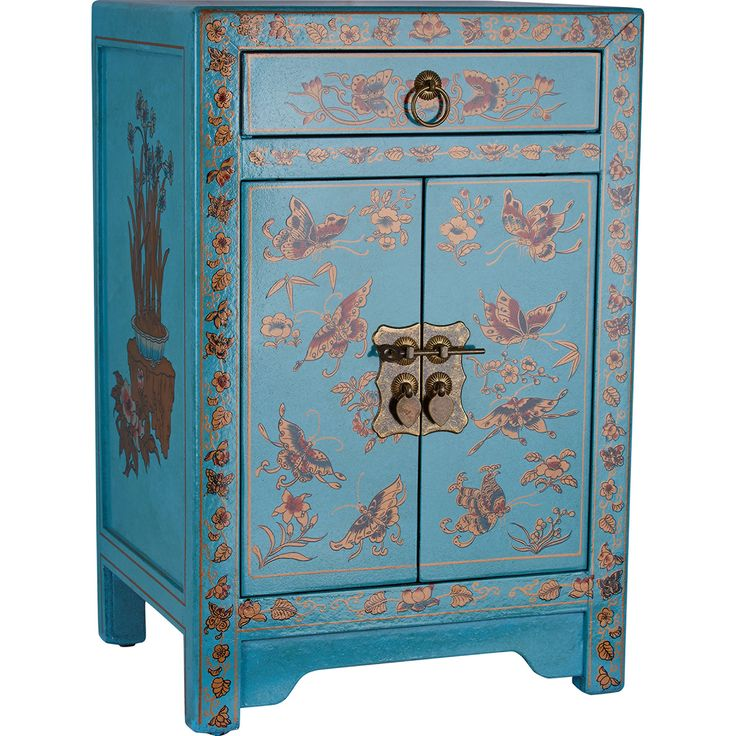 Teal wooden 1 drawer side table tk maxx oriental for Chinese antique furniture melbourne