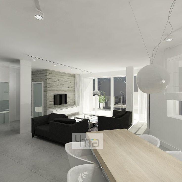 Minimalistyczne dwupoziomowe mieszkanie o powierzchni 140 m2. Prostota, geometria formy, połączenie bieli i szarości - http://4ma-projekt.pl