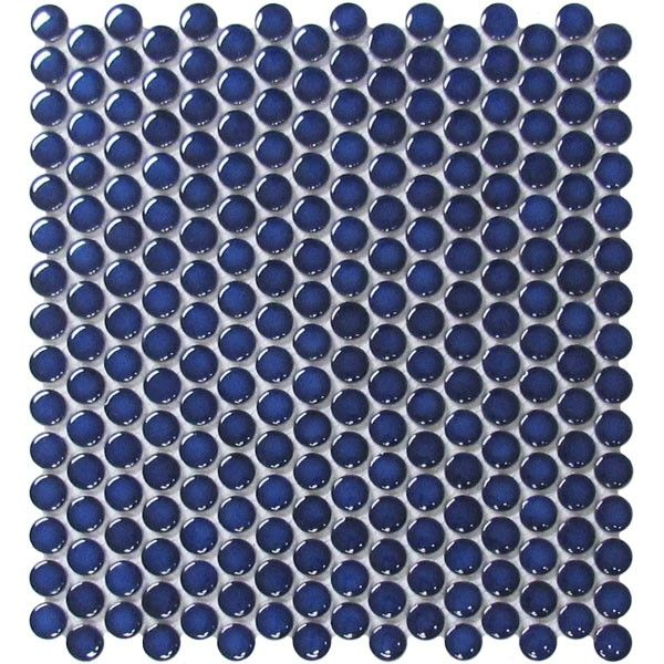 "Navy Blue Penny Round Porcelain Mosaic  Price $7.95/sq.ft Material: Porcelain Dimensions: 12""x 12"" mosaic sheet Surface: glazed, glossy Application: wall tile, bathroom, shower wall and floor, kitc..."
