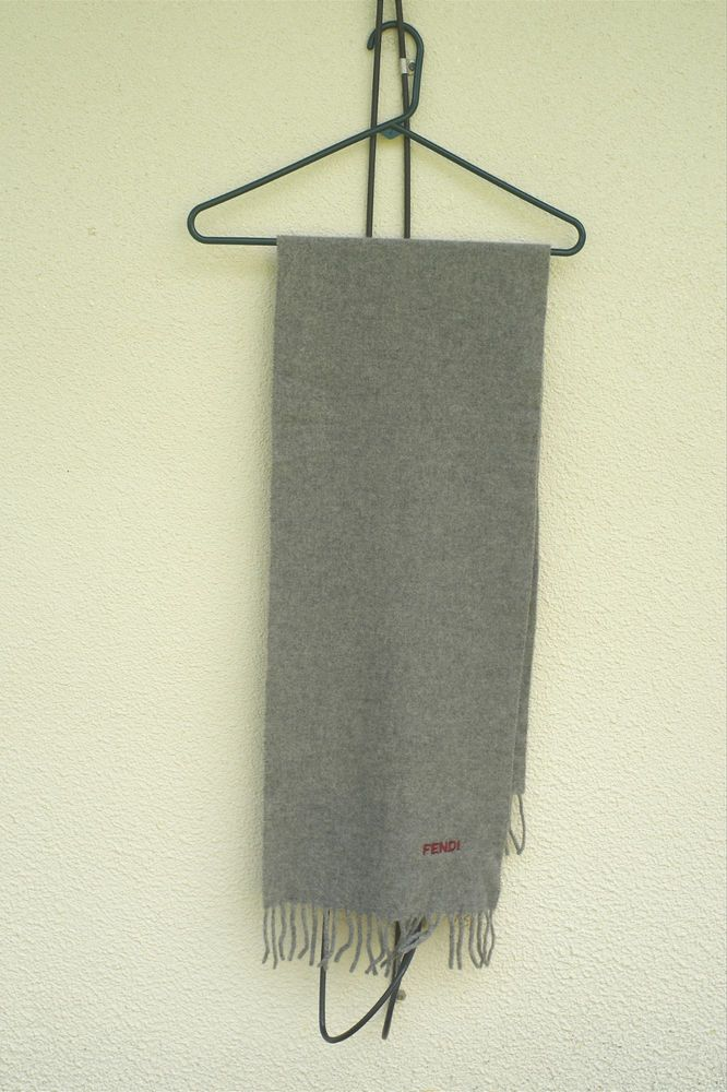 FENDI Scarf Vingage 1980s Embroidered Red Logo Fringe Detail Lana Wool Gray #Fendi #Scarf #gray #designer #italy #fashion #hipster #trend #fall #winter #status #warn #fringe #style #elite #upperclass #1% #chic #snob #uppercrust