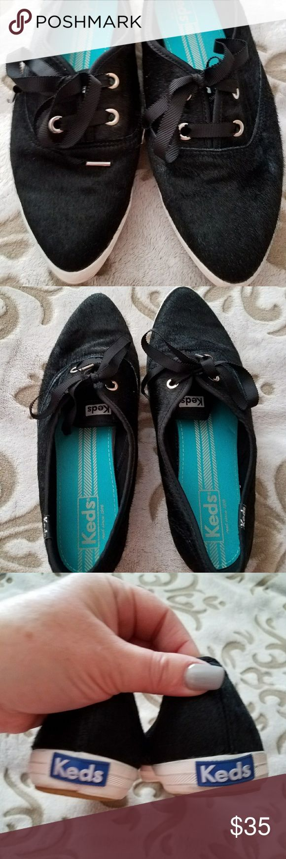 Keds ~ Black Pointy Toes Limited Edition Shoes Keds.  Gently worn 1-2 times & in terrific condition.  Black faux fur material with black laces for a dressier overall appearance.  Limited edition pointy toes for a completely unique look.  Style + Comfort! Keds Shoes Flats & Loafers