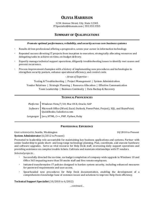 It Professional Resume Sample Monster Resume Summary Examples Resume Examples Professional Resume Samples