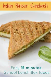 Easy 15 minute Paneer Sandwich recipe made using green chutney - mint coriander chutney. Excellent for kids lunch box ideas.