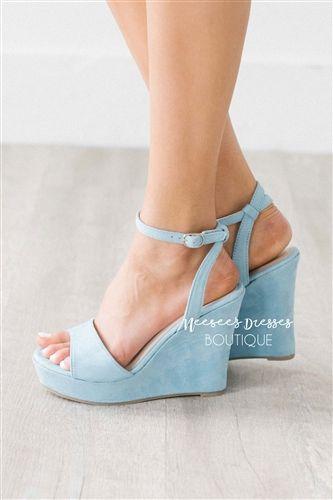 1a349804ae60 Cute Dusty Blue Wedges