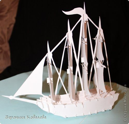 Открытка День рождения Вырезание Киригами pop-up Корабль + схема Бумага фото 6