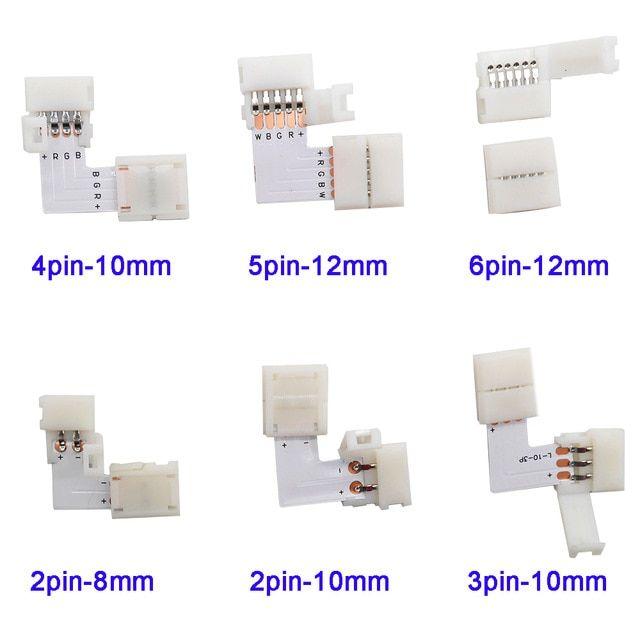 5 500set L Shape 2pin 3pin 4pin 5pin 6pin Led Connector For Connecting Corner Right Angle 5050 Rgb Rgbw 3528 Ws2 Rgb Led Strip Lights Led Light Store Led Strip
