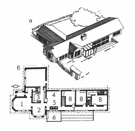 Солнечный дом. Солнечный дом-ранчо: а - общий вид; б - план 1 - семейная комната; 2 - столовая; 3 - кухня; 4 - гостиная; 5 - камин-аккумулятор; 6 - патио; 7 - галерея; 8 - спальня; 9 - гараж. В жарком климате павильонная планировка издавна служила целям борьбы с высокой влажностью и перегревом. Вытянутый план, сквозное проветривание, обилие террас и балконов, размещение кухонь, прачечных в отдельном объеме - характерные черты этого жилища. Для зданий, расположенных в жарком влажном климате…