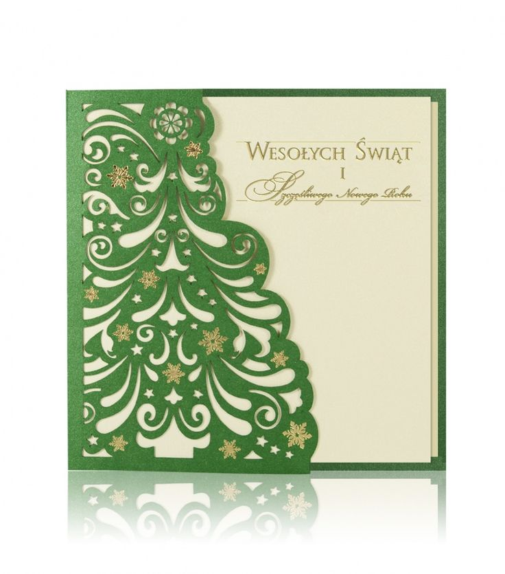 Kartka świąteczna B 708 Zielony metaliczny papier, złoty nadruk, laserowe wycięcie. Na froncie kartki, laserowo wycięta choinka, która jest dopełniona złotymi ozdobami. We wnętrzu kartki wklejony jest złoty perłowy papier z nadrukowanym tekstem Istnieje możliwość nadruku logo na froncie.