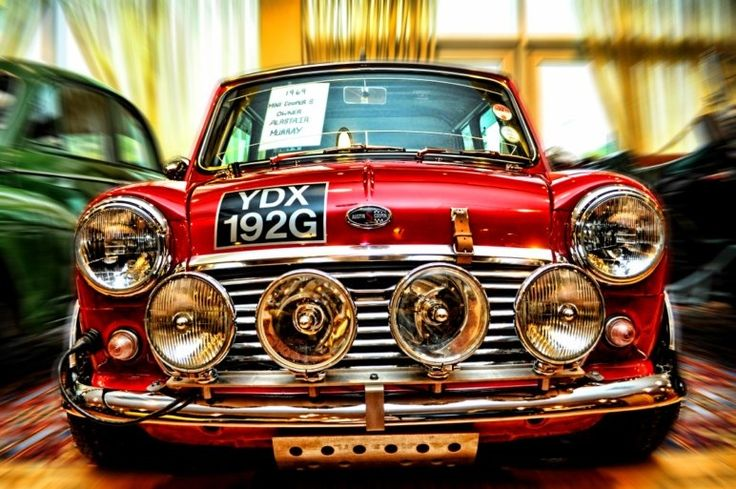 Classic Mini. Very nice with these 4 fog lights.