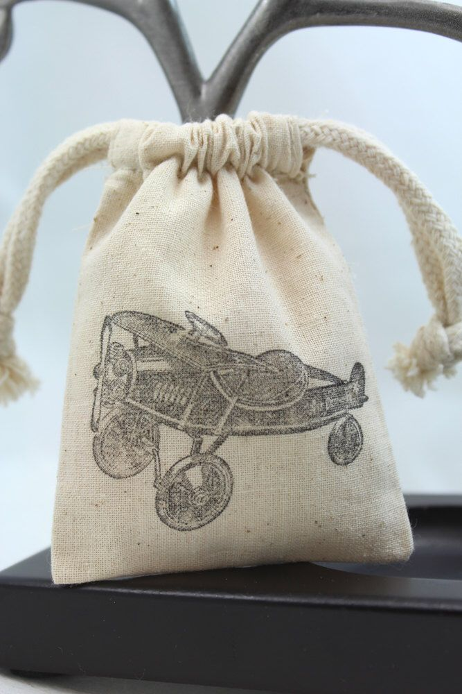 Muslin Favor Bags - Retro Toy Airplane - party favors, goodie bags, treats by 1PixiePlace on Etsy https://www.etsy.com/listing/164685629/muslin-favor-bags-retro-toy-airplane