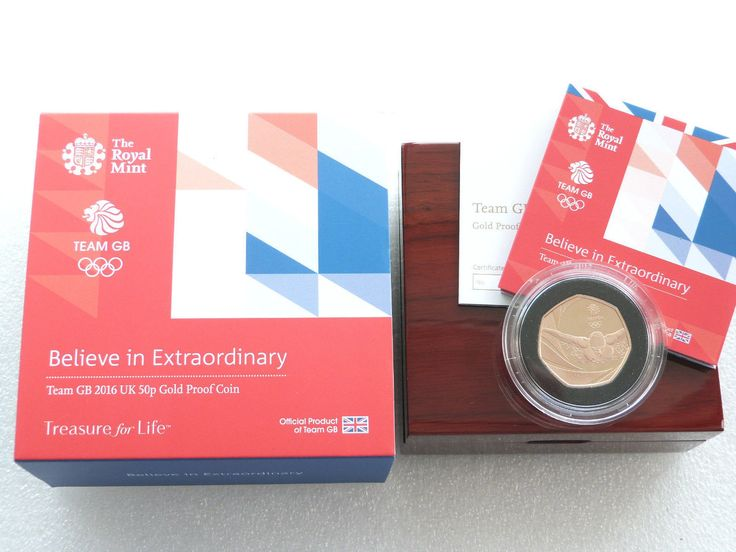 2016 Olympic Games Team GB Rio 50p Fifty Pence Gold Proof Coin Box Coa