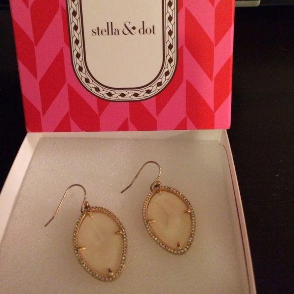 Stella and Dot earrings Gold, rhinestone and shell drop earrings. Never worn! Super cute! Stella & Dot Jewelry Earrings
