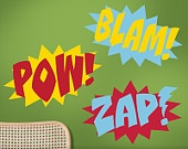Superhero Wall Decals - Comic Book Sound Effects Word Bursts Blam Zap Pow, Super Hero Decal, Super Hero Wall Decor, Comic Book Bedroom Decor. $38.00, via Etsy.