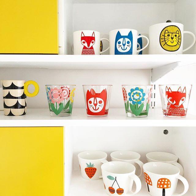 Kitchen shelfie today - wonderful jug by @keneardley top two shelves are my mugs for @makeinternational and the lower shelf has my favourite mugs by the wonderful @becky_baur #janefoster #shelfie #brightkitchen #popofcolour #kitchenshelfie