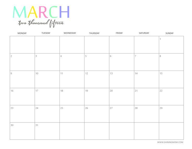 of Calendar 2015 March Printable Template. Cute March 2015 Calendar ...