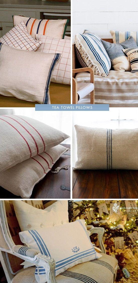 DIY Cuscini fatti con strofinacci     DIY - Tea Towel Pillows - How To Instructions.