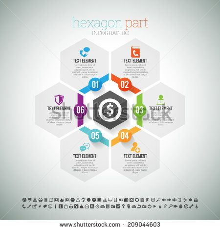 Vector illustration of hexagon part infographic element. - stock vector