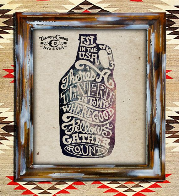Beer Jug Art Print.  8x10 Hand Lettered Typography on Weathered Distress Background. Ready to hang art print. Frame included is hand crafted for a rustic vintage feel.TRAVOISGOODS, $50.00