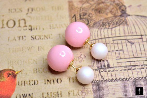 Ear Jackets Light Pink & Matt White Double Round Bead by BYTWINS