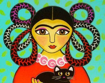 PRINCESA de Halloween Angel con negro CAT & Pumpkin – IMPRESIÓN de arte popular de la pintura original de Jill