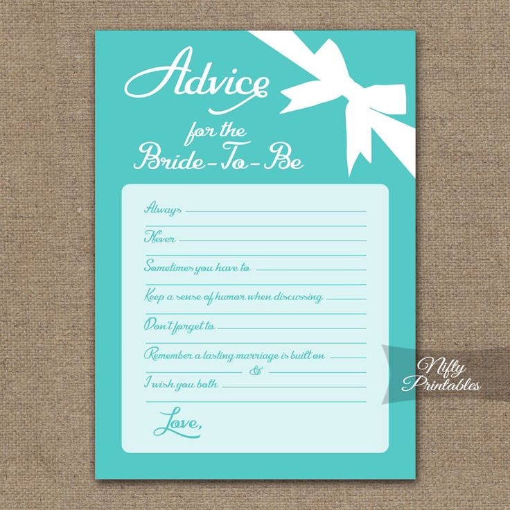 Bridal Shower Advice Cards - Turquoise Blue Bridal Shower Games - Instant Download - Printable Aqua Turquoise Bridal Advice Card - TFB by NiftyPrintables on Etsy https://www.etsy.com/listing/215863954/bridal-shower-advice-cards-turquoise