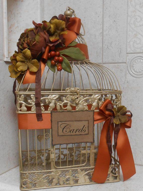 Birdcage Wedding Card Holder / Rustic Gold Birdcage Wedding Cardholder / Fall Wedding Cardholder via Etsy